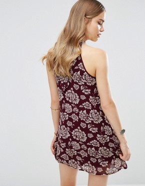 photo Vintage Style Floral Shift Dress by Band of Gypsies, color Burgundy/Ivory - Image 2