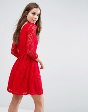 photo Lace Skater Dress by Pussycat London, color Red - Image 2