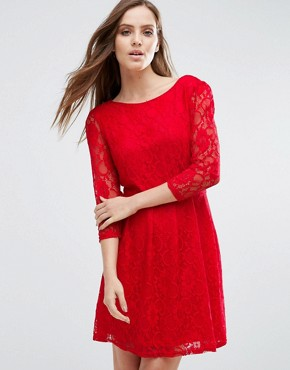 photo Lace Skater Dress by Pussycat London, color Red - Image 1