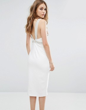 photo Wrap Midi Dress With Embellished Trim by TFNC, color White - Image 2