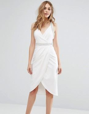 photo Wrap Midi Dress With Embellished Trim by TFNC, color White - Image 1