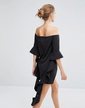 photo Off Shoulder Mini Dress with Frill Sleeve by Dark Pink, color Black - Image 2