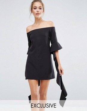 photo Off Shoulder Mini Dress with Frill Sleeve by Dark Pink, color Black - Image 1