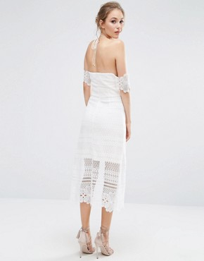 photo Premium Lace Midi Dress with Bardot Sleeves by Dark Pink, color White - Image 2