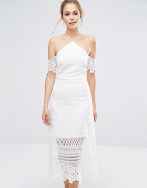 photo Premium Lace Midi Dress with Bardot Sleeves by Dark Pink, color White - Image 1