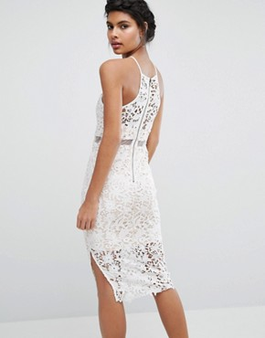 photo Lace Midi Dress with High Neck by Love Triangle, color Ivory - Image 2