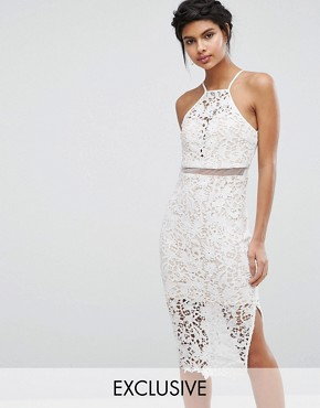 photo Lace Midi Dress with High Neck by Love Triangle, color Ivory - Image 1