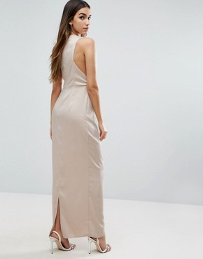 photo Open Side Square Neck Maxi Dress by ASOS, color Stone - Image 2