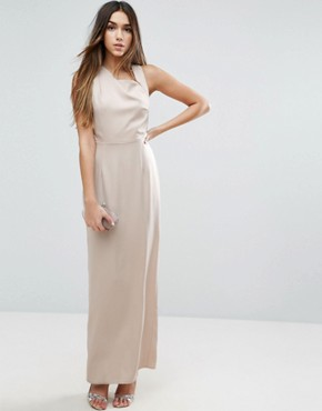 photo Open Side Square Neck Maxi Dress by ASOS, color Stone - Image 1