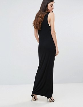 photo Lace Up Front Maxi Dress by First & I, color Black - Image 2