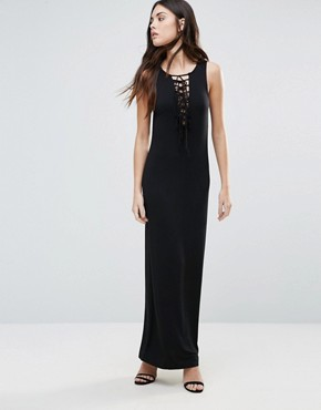 photo Lace Up Front Maxi Dress by First & I, color Black - Image 1