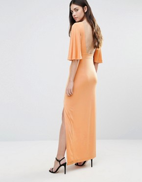 photo Flutter Sleeve Maxi Dress by First & I, color Toast - Image 2