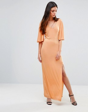 photo Flutter Sleeve Maxi Dress by First & I, color Toast - Image 1