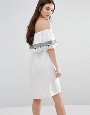 photo Off Shoulder Embroidered Dress by First & I, color White - Image 2