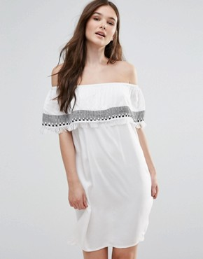 photo Off Shoulder Embroidered Dress by First & I, color White - Image 1