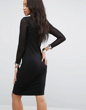 photo Bodycon Dress with Mesh Insert by Puma, color Black - Image 2