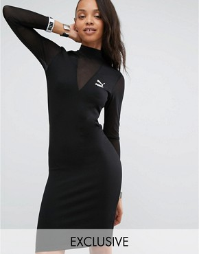 photo Bodycon Dress with Mesh Insert by Puma, color Black - Image 1