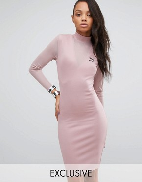 photo Bodycon Dress with Mesh Insert by Puma, color Woodrose - Image 1