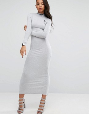 photo Bodycon Maxi Dress with Split Back by Puma, color Light Grey Heather - Image 2