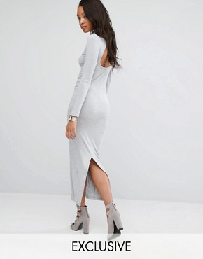 photo Bodycon Maxi Dress with Split Back by Puma, color Light Grey Heather - Image 1