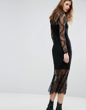 photo Lace Long Sleeve Midi Dress by Vero Moda Tall, color Black - Image 2