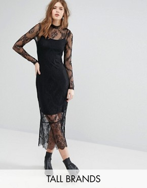 photo Lace Long Sleeve Midi Dress by Vero Moda Tall, color Black - Image 1