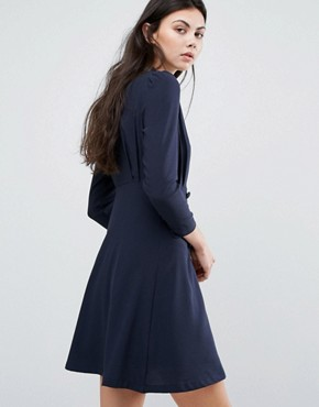 photo Wrap Front Shift Dress by Vero Moda Tall, color Navy - Image 2