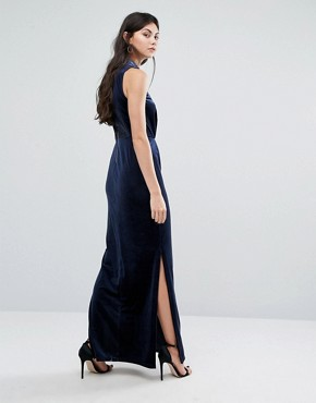 photo Velvet Lace Back Maxi Dress by Vero Moda Tall, color Navy - Image 2