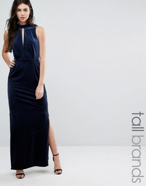 photo Velvet Lace Back Maxi Dress by Vero Moda Tall, color Navy - Image 1