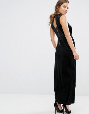 photo Velvet Lace Back Maxi Dress by Vero Moda Petite, color Black - Image 2