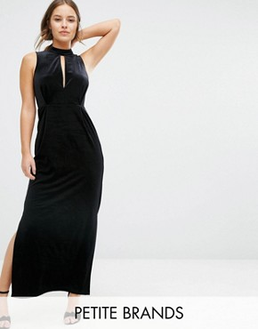photo Velvet Lace Back Maxi Dress by Vero Moda Petite, color Black - Image 1