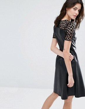 photo Leather Look Lace Skater Dress by Vero Moda Petite, color Black - Image 2