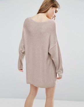 photo Knitted Jumper Dress with Reversable V by ASOS, color Mink - Image 2