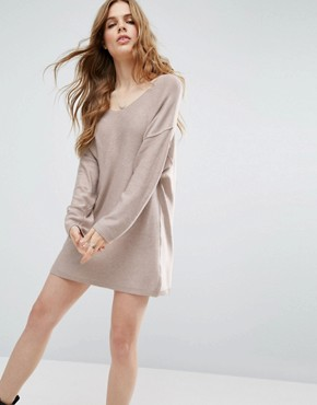 photo Knitted Jumper Dress with Reversable V by ASOS, color Mink - Image 1