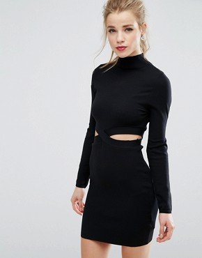 photo Cut Out Jumper Dress by New Look, color Black - Image 1