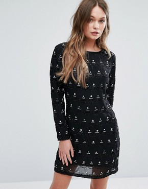 photo Embellished Shift Dress by New Look Premium, color Black - Image 1