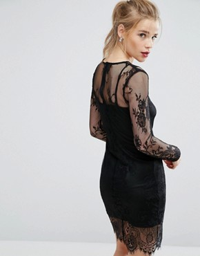 photo Sheer Lace Bodycon Dress by New Look, color Black - Image 2
