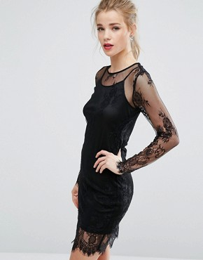 photo Sheer Lace Bodycon Dress by New Look, color Black - Image 1