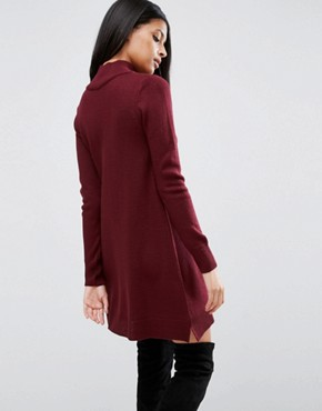 photo Knit Dress With Zip Detail by ASOS, color Dark Red - Image 2