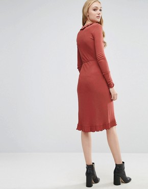 photo Wrap Dress in Rib with Frill Detail by ASOS TALL, color Rust - Image 2