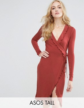 photo Wrap Dress in Rib with Frill Detail by ASOS TALL, color Rust - Image 1