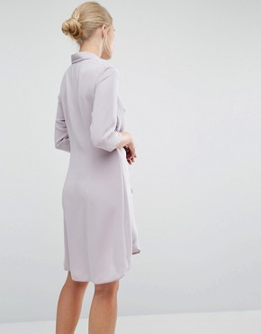 photo Tie Front Dress With Long Sleeve by Closet London, color Mink - Image 2