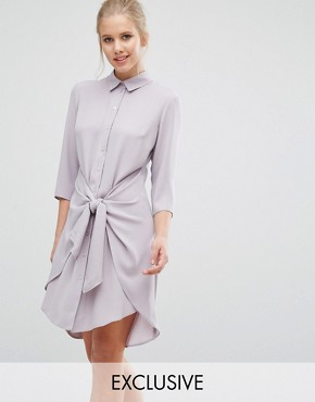 photo Tie Front Dress With Long Sleeve by Closet London, color Mink - Image 1