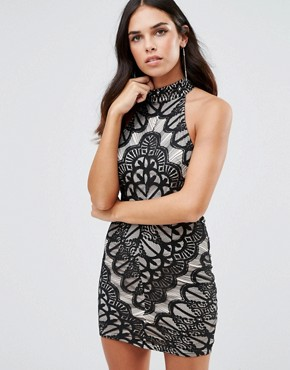 photo High Neck Lace Dress by Girl In Mind, color Black - Image 1