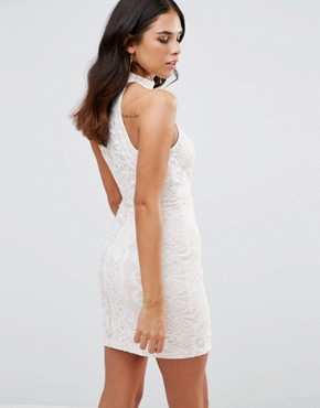 photo High Neck Lace Dress by Girl In Mind, color White - Image 2