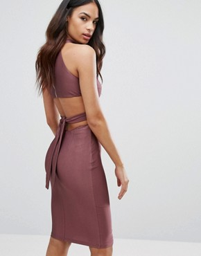 Lace Pencil Dress With High Neck - Dusky violet/taupe NaaNaa