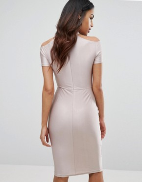 photo Midi Dress with Strap Detail by NaaNaa, color Nude - Image 2