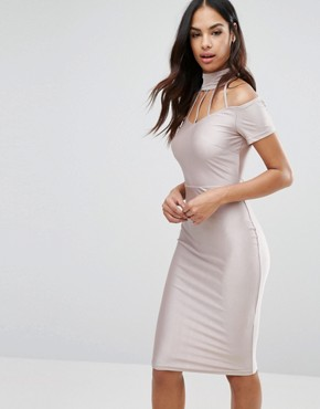 photo Midi Dress with Strap Detail by NaaNaa, color Nude - Image 1