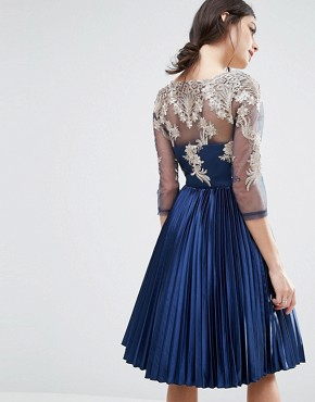 photo Bardot Long Sleeve Lace Dress With Pleated Skirt by Chi Chi London Petite, color Navy - Image 2
