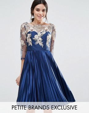 photo Bardot Long Sleeve Lace Dress With Pleated Skirt by Chi Chi London Petite, color Navy - Image 1